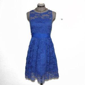 BB Dakota Blue Lace Fit & Flare Dress 2